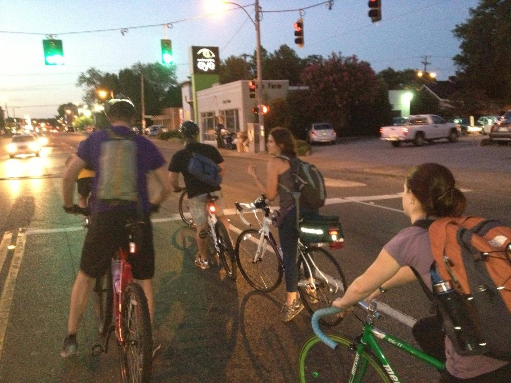 Adriene and other riders with the Urban Bicycle Food Ministry