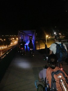 About to bike through the lighted tunnel with UBFM