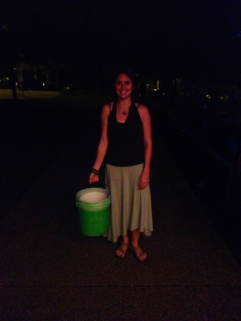 It's dark out there, but you can see my bright green donation bucket (with Indie Memphis @ the Levitt Shell