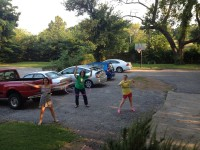 "Hula hooping at the Dorothy Day House during ""Sunday at Six"""