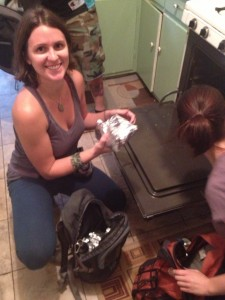 Adriene packs burritos with Urban Bicycle Food Ministry