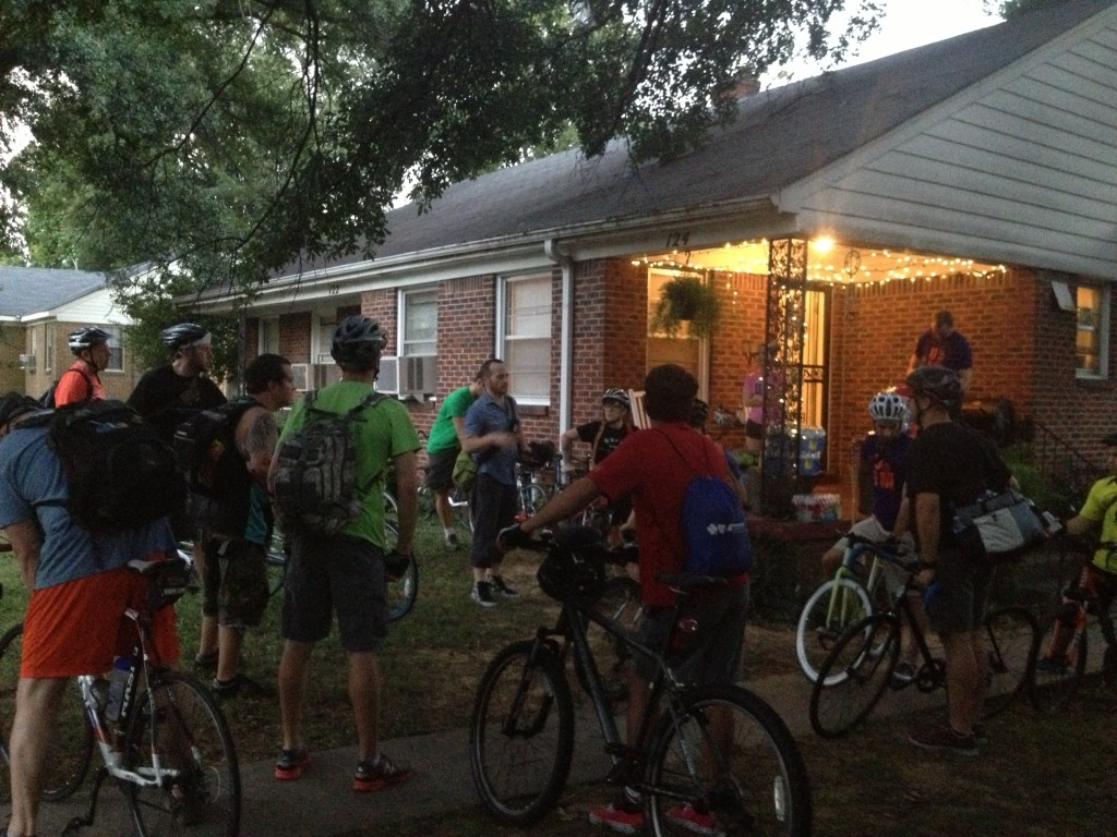 Tommy gathers everyone with Urban Bicycle Food Ministry before the ride