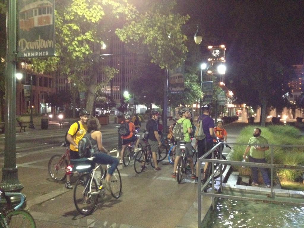 Riding groups with Urban Bicycle Food Ministry rendezvous downtown