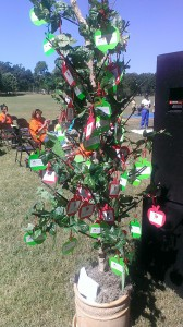 The tree is covered in cards that event goers can purchase to help the Food Bank fill backpacks for their program. The tree was displayed at their Miles for Meals event