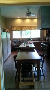 The large kitchen that the families share in the house