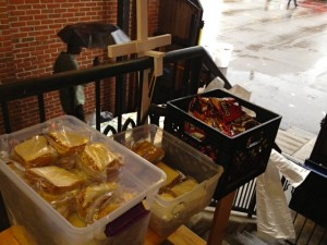 PBJ, meat sandwiches, and chips just waiting to be handed out at St. Mary's Soup Kitchen!