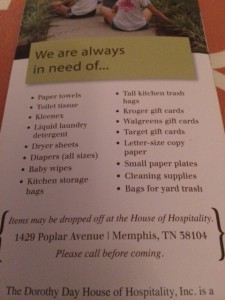 Here is a list of items they are in need of.