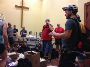 Urban Bicycle Food Ministry founder, Tommy, getting the group pumped up and reminding the group why we ride.