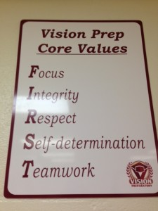 Vision Prep Core Values, posted in each classroom