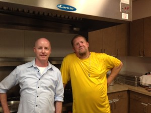 Martin and I, in the kitchen