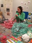 Stuffing gift bags for the CAG Christmas party