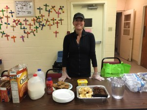Serving breakfast at Peace Lutheran Church